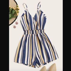 Blue Stripe Shirred Waist Romper